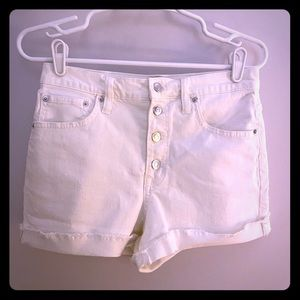 J. Crew High Rise Button-Front White Denim Shorts